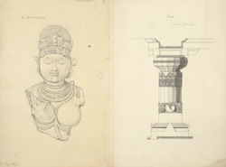Ellora: Head found at Ellora (left), Pillar from last Jaina cave (right)